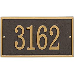 "Whitehall Personalized Cast Metal Address Plaque - Custom House Number Sign - Rectangle (11"" x 6.25"") Bronze with Gold Numbers"