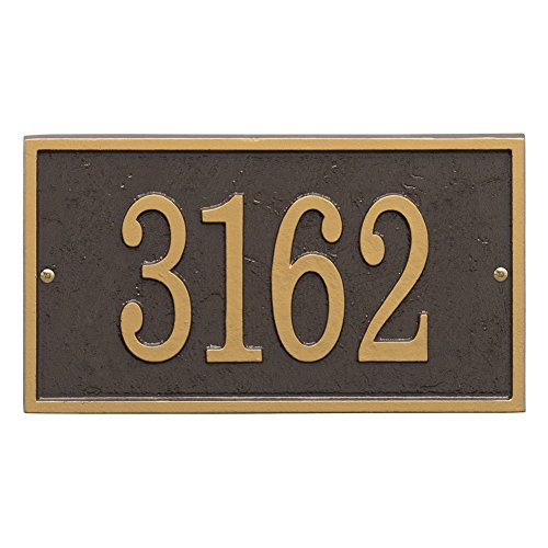 Whitehall Personalized Cast Metal Address Plaque - Custom House Number Sign - Rectangle (11' x 6.25') Bronze with Gold Numbers