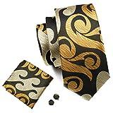 Hi-Tie Dark Brown Gold Designer Necktie Set Woven