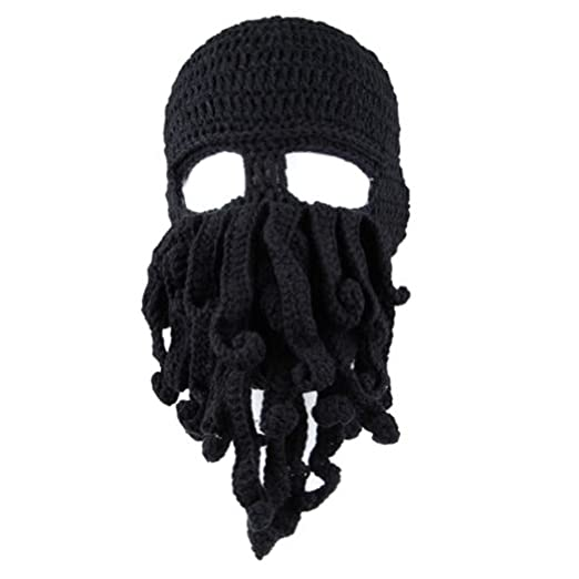 0105eb1f07dec Funny Tentacle Octopus Beanie Crochet Knit Beard Hat Fisher Cap Wind Ski  Mask Black