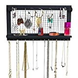Espresso Jewelry Organizer with Removable Bracelet Rod from SoCal Buttercup - Wooden Wall Mounted Holder for Earrings Necklaces Bracelets and other Accessories