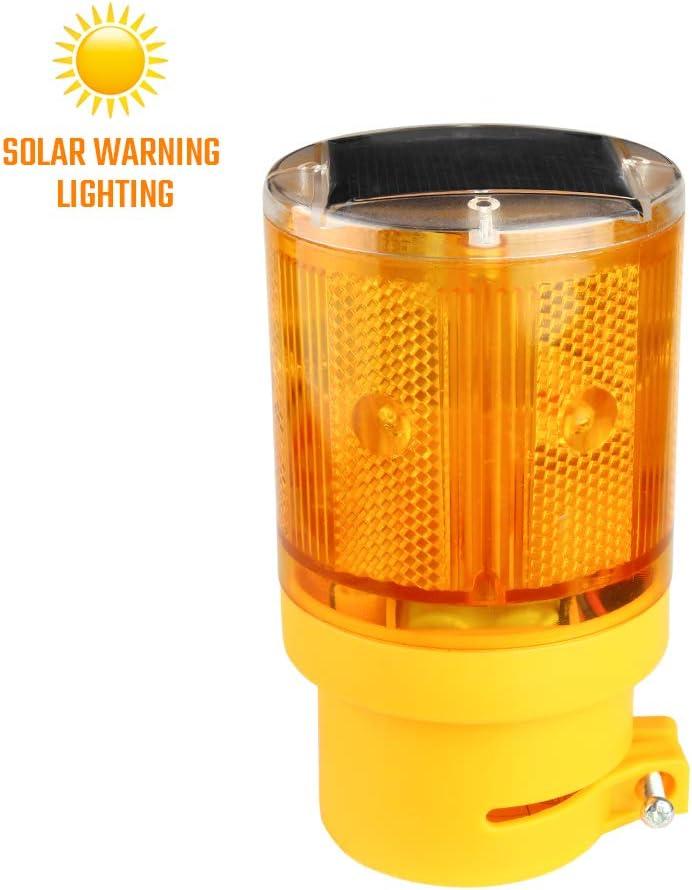 Sondiko Warning Light, Solar Hazard Warning Lights with 6 LED Lights, LED Strobe Beacon Light Construction Signs Flash Traffic Lights for Traffic Construction, Crane Tower, House, Garden