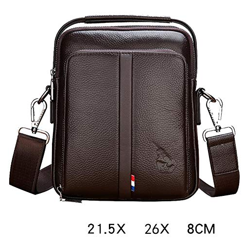 - ZHM Mens Bag Leather Shoulder Bag Messenger Bag Men's Handbag Vertical Business Casual Backpack,Brown,L