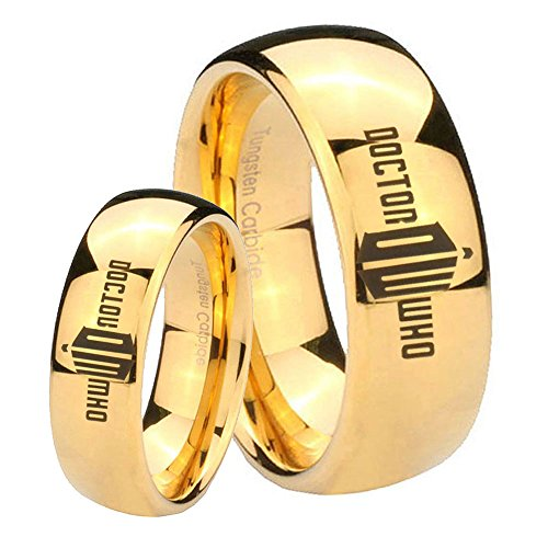 His Her's 2pcs Tungsten Dr Who Doctor Time Design Bad Wolf 14K Gold IP Dome Ring Set Size 6, 10