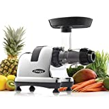 Omega Juicers J8008C Juicer Extractor and Nutrition Center Creates Fruit Vegetable and Wheatgrass Juice Quiet Motor Slow Masticating Dual-Stage Extraction Automatic Pulp Ejection, 200-Watt, Metallic