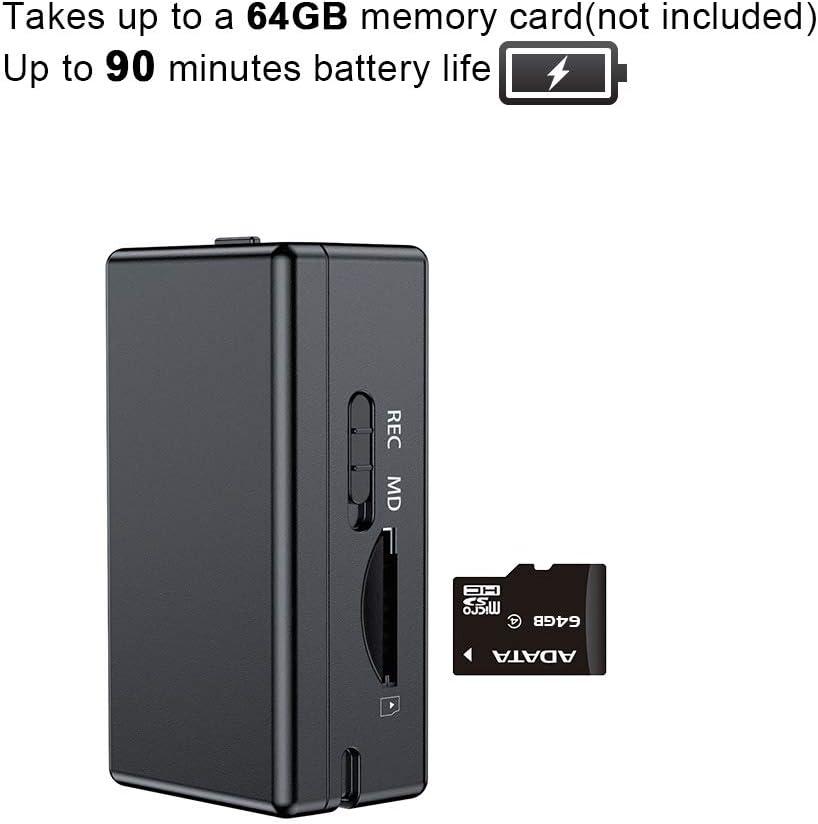 SD no Incluido C/ámara esp/ía Oculta Mini grabadora DVR de Uso Corporal 64 GB de Soporte de Tarjeta Micro SD tama/ño peque/ño 1080P con 90 Minutos de duraci/ón de la bater/ía y detecci/ón de Movimiento