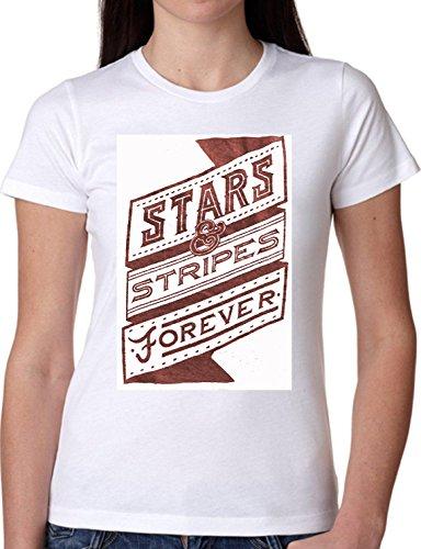 T SHIRT JODE GIRL GGG22 Z0145 STARS AND STRIPES FOREVER FLAG AMERICA FUNNY FASHION COOL BIANCA - WHITE S