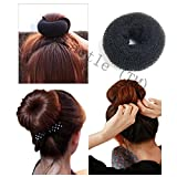 Caetle(TM) BLACK BUN HAIR FORMER DONUT DOUGHNUT SHAPER RING STYLER HAIRDRESSING Diameter:9cm