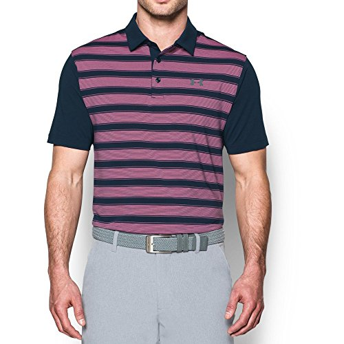 Graphite Golf Shirt - Under Armour Men's Flagstick Stripe Polo, Academy (408)/Graphite, X-Large