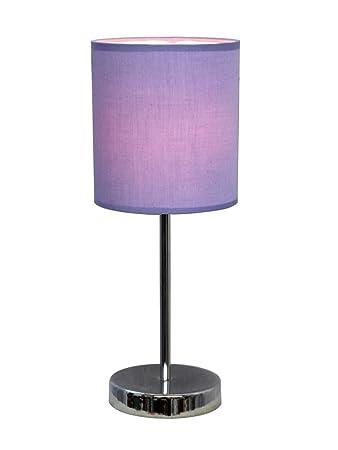 Simple Designs LT2007 PRP Chrome Mini Basic Table Lamp With Fabric Shade,  Purple