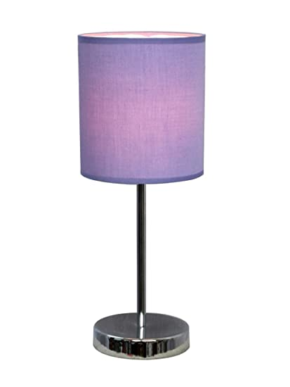 Simple Designs LT2007-PRP Chrome Mini Basic Table Lamp with Fabric ...