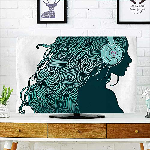"""Price comparison product image Front Flip Top Girl Profile with Hair in Headphones Nightclub Silhouettes Party Front Flip Top W19 x H30 INCH / TV 32"""""""
