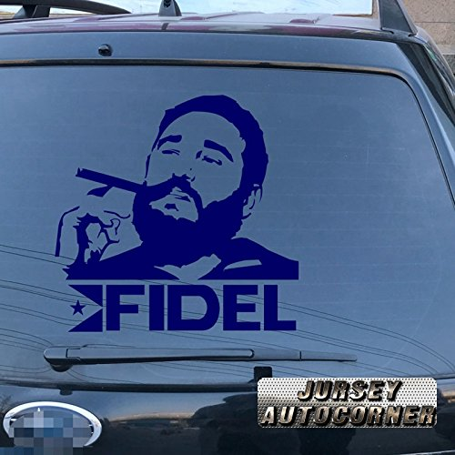 stro Cigar Car Trunk Decal Sticker Vinyl Die cut no background pick color size (22'' (55.9cm), blue) (Fidel Castro Color)