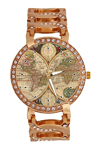 Amazon world map chain watch online shopping in pakistan jkfgweeryhrt intage world map womens wrist watch analog quartz with chain bracelet band rose gold tone gumiabroncs Image collections