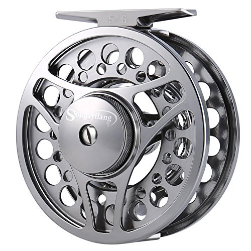 (Sougayilang Fly Fishing Reel with Ultralight Anti-Oxidation A7075 Space Aluminium, Stainless Steel Drag System, Left Rigth Hand Exchange, 2+1 NSK Deep Groove Ball Bearing (5/6 WT))