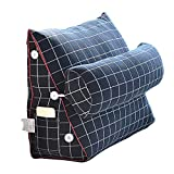 Der Cotton Triangle Cushion Bedside Lumbar Support Soft Bag Waist Plaid Cushion (Color : C, Size : 60CM)