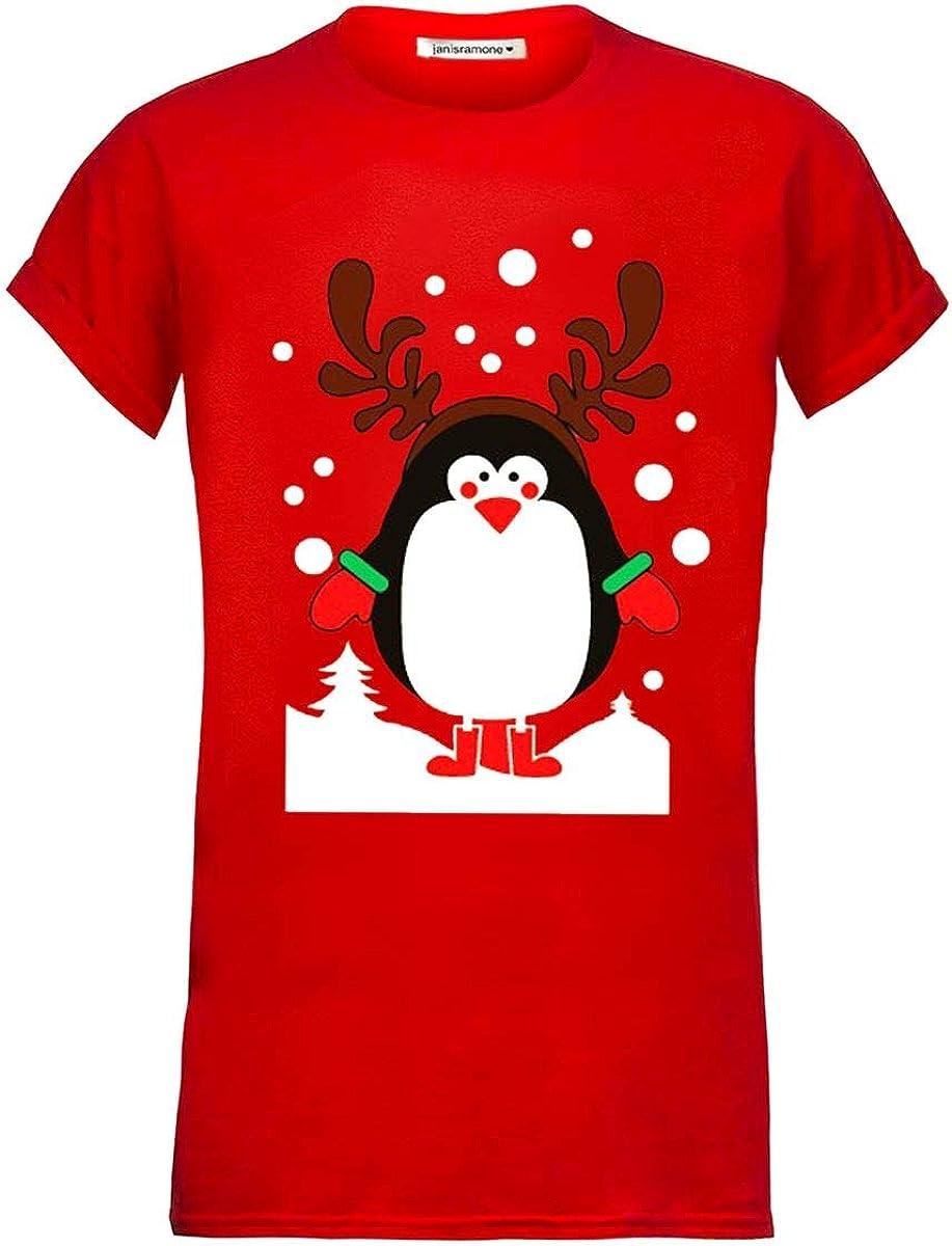 Snowman Santa Claus Print T Shirt Mens Boys Short Sleeve Novelty Cotton Reindeer