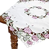 HomeCrate Decorative Rose Table Topper, Handmade Embroidered Cutwork - Peach, 36'' Square