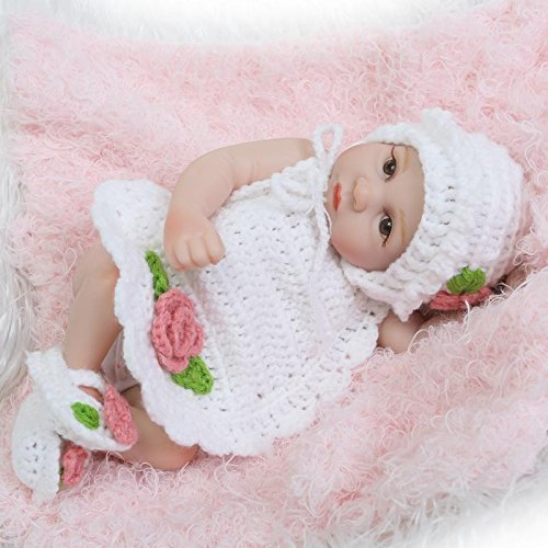 Pinky Handmade 26cm 10 Inch Lifelike Miniature Hard Vinyl Silicone Full Body Reborn Baby Girl Doll Realistic Looking Newborn Baby Dolls Cute Toy Xmas Birthday Gift NUER Collection