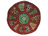 India Tribal Art Mirrored Embroidered Ethnic Round Circle Wall Hanging