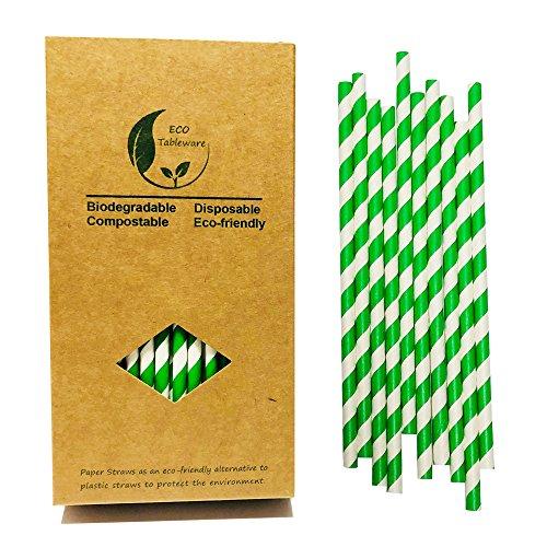 Environment Green White Paper Straws Bulk, 100 Kraft Box Pack Coktail Straw for Holiday Drinking Alternative to Plastic Straw Use Juice Patener