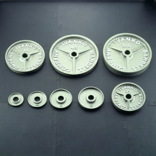 Ivanko 632.5 lb. Machined Hammertone Grey Olympic Plate Package Deal by Ironcompany.com