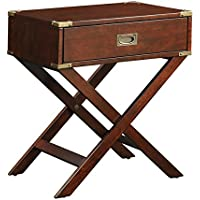 100% Eye-catching and Durable Espresso Neptune Campaign 1 Drawer End Table