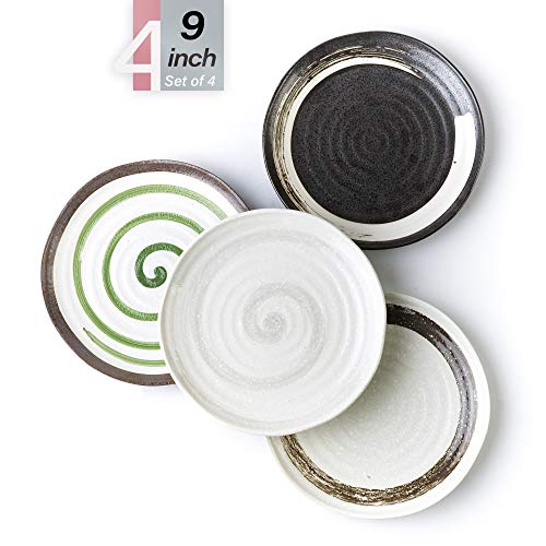 Porcelain Plates - 9 Inch Kitchen Ceramic Plate for Pasta, Meals, Dessert, Salad - Round Everyday Dishes - Set of 4 in Assorted Pure Color, Microwave and Dishwasher Safe