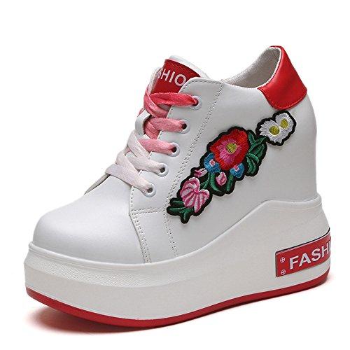Btrada Womens Lace-up Casual Sneaker Ricamo Alto Aumento Scarpe Da Passeggio Nascosti A Piedi Rosso