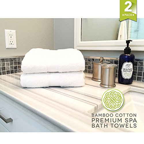 Oversized Premium Bamboo and Cotton Bath, Spa, or Massage Towels. Bright White, Super Soft and Absorbent. Bamboo Naturally Blocks Mold and Mildew. Extra Long 70 inches by 35 Inches Wide.