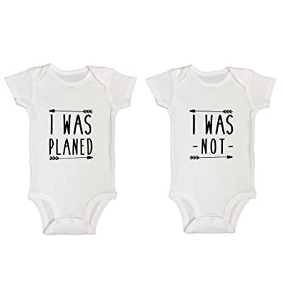 "17c08e9a3 Cute Twin Onesie Set Of 2 Boy or Girl ""I Was Planned"" & """