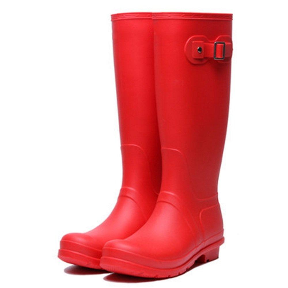 NAN Frau Regen Adult Stiefel High Adult Regen Regen Stiefel Vier Jahreszeiten Slip Wasserdichte Koreanische Mode High Water Schuhe Überschuhe Leichte Komfort ( Farbe   Rot  größe   EU35 UK3 CN34 ) eae554
