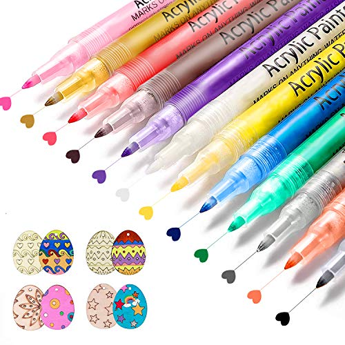 Paint Pens, 12 Colors Acrylic Paint Markers, Paint Pens for Rock Painting, Stone, Ceramic, Glass, Wood, Canvas, Fabric, DIY Craft Projects. Painting, Drawing, Art Supplies