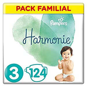 Couches Pampers Taille 3 (6-10 kg) - Harmonie Couches, 124 couches, Pack Familial 7