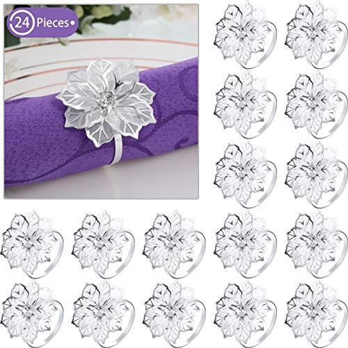 24 Pieces Red Napkin Rings Alloy Napkin Rings with Hollow Out Flower Napkin Holder Adornment Exquisite Household Napkins Rings Set Floral Rhinestone Napkin Rings for Wedding Decor (Silver