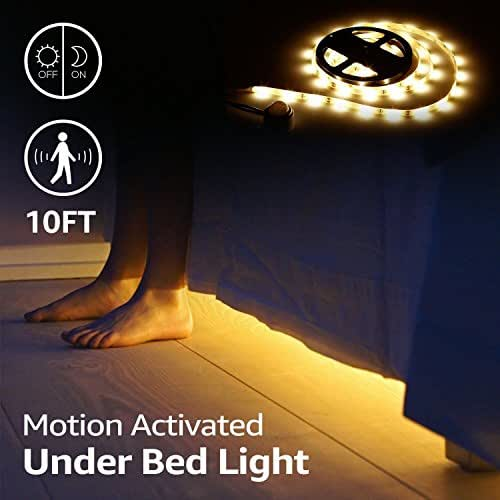 Dorolla Under Bed Light, Dimmable Motion Activated Bed Light LED Strip with Motion Sensor and Power Adapter, Bedroom Night Light for Baby, Bedside, Stairs, and Bathroom (Twin-Size Bed)