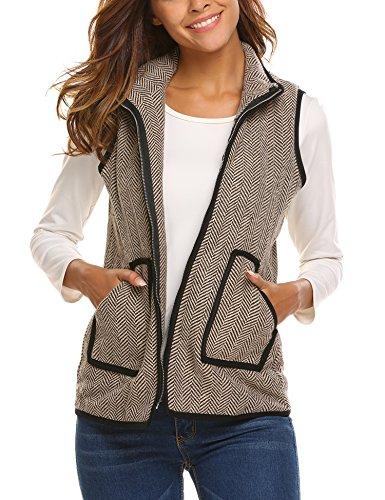 Zeagoo Women's Stand Collar Zip up Quilted Herringbone Puffer Vest Jacket Dark Brown (Quilted Riding Jacket)