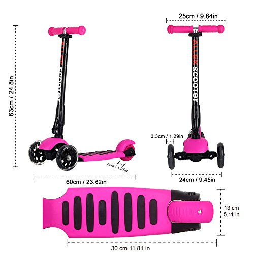 Allek Scooters for Kids, Wide Deck 3 Wheels Scooter for 3 Years and Up with T-Bar Handle 150lb Weight Limit Kick Scooter by Allek (Image #4)