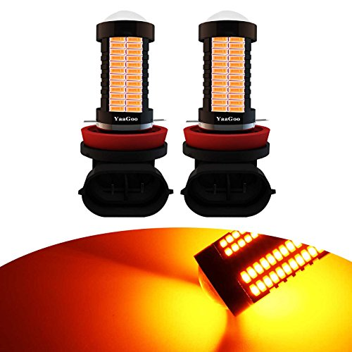 YaaGoo H8 H9 H11 Yellow LED DRL Driving Fog Light,Replacement of Halogen,360 degree super bright,2pcs (530i Bmw Yellow Fog Lights)