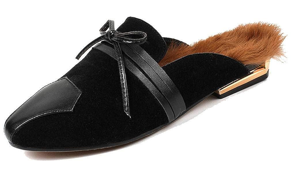 SimpleC Plano Punta Cerrada Mocasines, Mules con Adorno de Arco para Mujer: Amazon.es: Zapatos y complementos