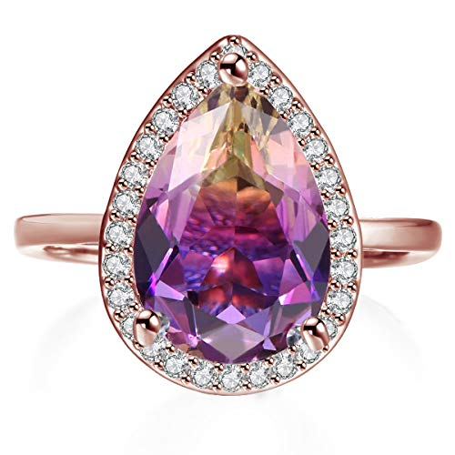 Teardrop Rings for Women Pear Cut Simulated Ametrine Crystal Micro Cubic Zirconia Halo Style Rhodium Plated Ring Size 9
