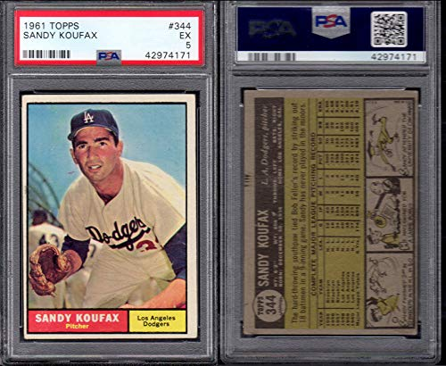 1961 Topps Regular (Baseball) Card# 344 Sandy Koufax (psa) of the Los Angeles Dodgers Ex Condition