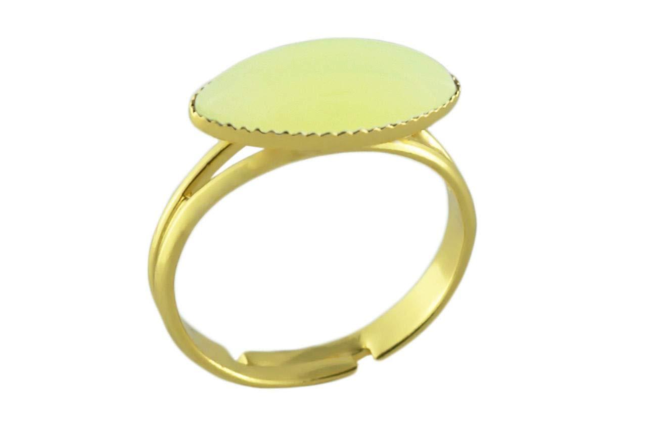 24K Gold Plated Fantasy Ring Universal Adjustable Size Opal Lemon Yellow Moonstone Flower Petal Oval Czech Glass Stone Handmade BohemStyle