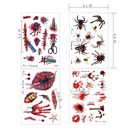 Sticker Scars Tattoos With Fake Scab 4pc Halloween Terror Woundqueen Stickers For Festival Party