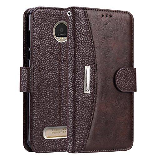 Moto Z2 Play Case,IDOOLS [RFID Blocking Wallet] [Slim Fit] Heavy Duty Protective Shock Resistant Flip Cover Wallet Case for Motorola Moto Z2 Play - Brown