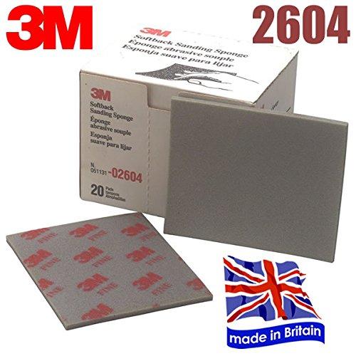 3M 2604 Sanding Sponge Sand Paper Sandpaper Fine Softback 20 Sheets (1 Box) DinDinStore
