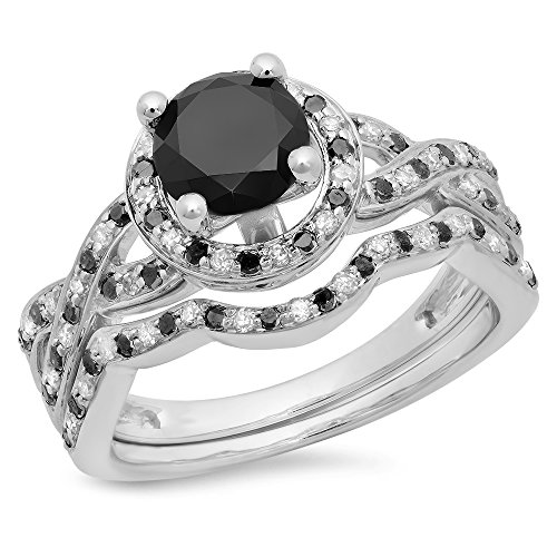 1.60 Carat (ctw) 14K White Gold Black And White Diamond Halo Style Bridal Engagement Ring Set (Size 8)