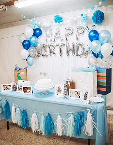 Birthday Party Decorations Baby Blue White Turquoise Tissue Paper Pom Poms Snow Theme Decor Boy First Circle Garland