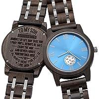 [Patrocinado] Reloj de madera personalizado, grabado para hombre, regalo de Navidad para hijo, regalo para papá., Estándar hombre