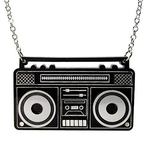 (Boom Box Pendant Necklace, Retro 80s Portable Radio Stereo Statement)